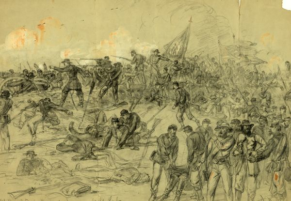 7th N.Y. Heavy Arty. in Barlows charge nr. Cold Harbor Friday June 3rd 1864, drawing, 1862-1865, by Alfred R Waud, 1828-1891, an american artist famous for his American Civil War sketches, America, US