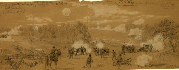 Artillery of Smith's division commanded by Capt. Ayres engaging the rebels at White Oak Swamp, drawing, 1862-1865, by Alfred R Waud, 1828-1891, an american artist famous for his American Civil War sketches, America, US