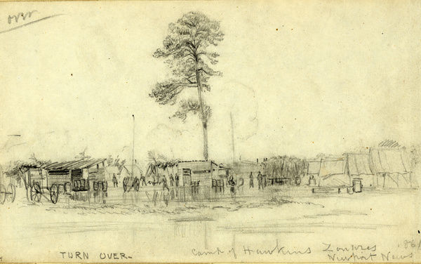 Camp of Hawkins Zouaves, Newport News 1861, drawing, 1862-1865, by Alfred R Waud, 1828-1891, an american artist famous for his American Civil War sketches, America, US