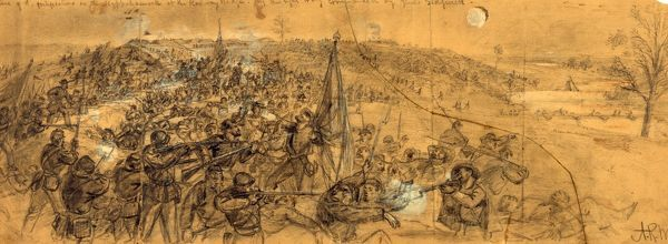 Capture of the fortifications on the Rappahannock at the Railway Bridge, by the right wing commanded by Genl. Sedgwick, drawing, 1862-1865, by Alfred R Waud, 1828-1891, an american artist famous for his American Civil War sketches, America, US