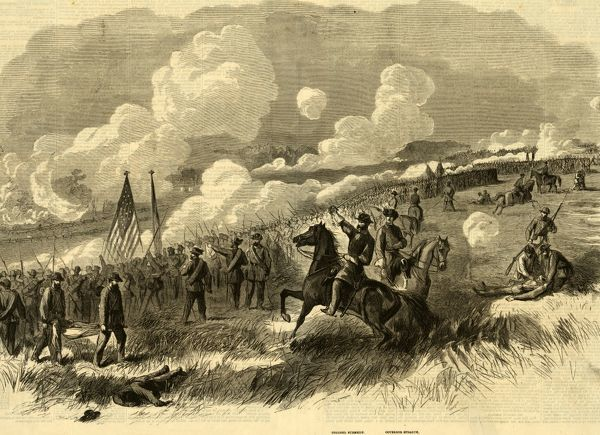 Colonel Burnsides brigade at Bull Run, First and Second Rhode Island, and Seventy-First New York Regiments, with their Artillery, Attacking the Rebel Batteries at Bull Run. Sketched on the spot by A. Waud, drawing, 1862-1865, by Alfred R Waud
