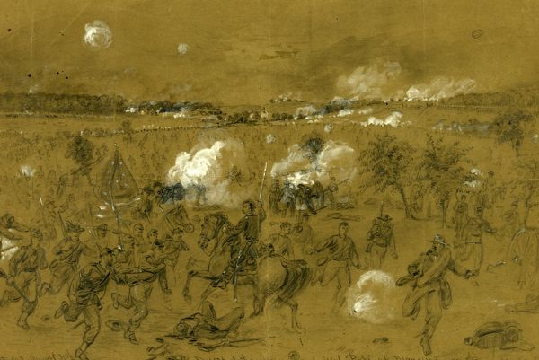 Defeat of the Army of Genl. Pope at Manassas on the Old Bull run battleground, drawing, 1862-1865, by Alfred R Waud, 1828-1891, an american artist famous for his American Civil War sketches, America, US