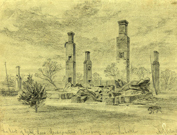 The last of Genl. Lees Headquarters Petersburg, after the battle, drawing, 1862-1865, by Alfred R Waud, 1828-1891, an american artist famous for his American Civil War sketches, America, US
