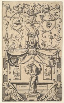 Panel with figure of Saturn, plate 1, ca. 1550–65, Engraving, sheet: 16 x 9 3/4 i