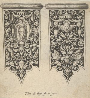 Design for Knife Handles, from Mansches de Coutiaus, 1580–1600, Engraving and blackwor