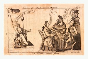 A certain cabinet junto, en sanguine engraving 1775, King George III, speechless
