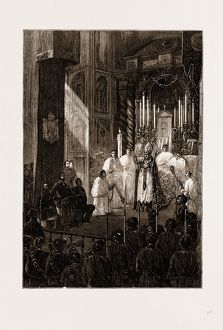 THE CIVIL WAR IN SPAIN, 1875: DON CARLOS ATTENDING MASS AT TOLOSA