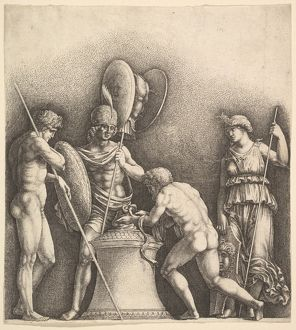 Four classical figures (pagan sacrifice), 1638, Etching, only state, Sheet: 8 in