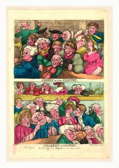 Comedy in the country. Tragedy in London, Rowlandson, Thomas, 1756-1827, engraving 1807