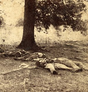 Confederate soldiers who had evidently been shelled by our batteries on Round Top
