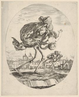 Death walking towards the right and carrying an infant upside down, another figure