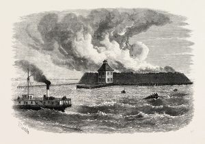 DESTRUCTION OF FORT OCRACOKE, UNITED STATES OF AMERICA, US, USA, 1870s engraving