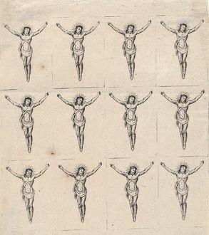 Drawings and Prints, Sheet of Twelve Crucified Christs, Artist, Anonymous, German