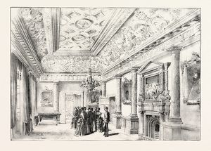 DUBLIN CASTLE, IRELAND, THE DINING ROOM, 1888 engraving