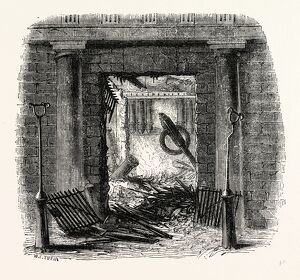 Entrance, Staircase of Great Storehouse Fire, London, England, engraving 19th century