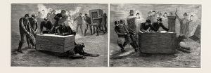 THE ESCAPE OF LIONS FROM THE MENAGERIE AT BIRMINGHAM, UK, 1889: UNDER THE BACON BOX