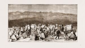 THE FAMINE IN ASIA MINOR, 1875: DEPARTURE FROM CELEPHKIA OF A CONVOY WITH GRAIN SENT
