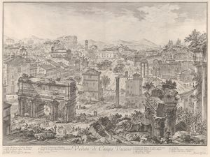 The Forum Romanum, or Campo Vaccino, from the capitol, with the Arch of Septimus