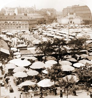 The fruit market, west over the great market place, Vienna, Austria, Vintage photography