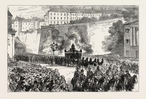 THE FUNERAL OF THE DUKE OF BRUNSWICK AT GENEVA: THE PROCESSION TO THE CEMETERY