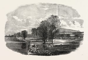 THE GREAT EXHIBITION BUILDING, THE CRYSTAL PALACE, IN HYDE PARK, LONDON, UK, SKETCHED
