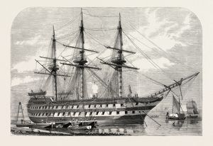 H.M.S. AGAMEMNON RECEIVING THE ATLANTIC CABLE ON BOARD FROM MESSRS