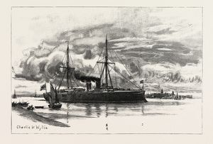 H.M.S. BLAKE, THE PROTECTED CRUISER RECENTLY LAUNCHED AT CHATHAM, IN PORTSMOUTH HARBOUR