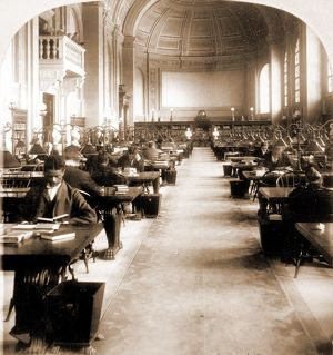 Interior of Bates Hall, Boston Free Library, US, USA, America, Vintage photography