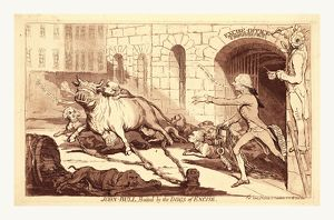 John Bull, baited by the dogs of excise, en sanguine engraving 1790, British satire
