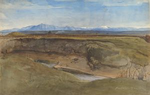 Landscape near Rome, 1867, Brush and brown ink, watercolor, white gouache, over black