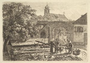 Laundress at an Artesian Well, 1817, Etching; fourth state, plate: 3 15/16 x 5 5/8 in