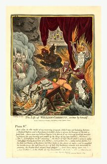 The life of William Cobbett, engraving 1809, Cobbett surrounded by flames and beset