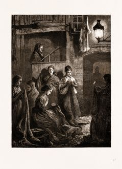 LONDON LIFE AT THE EAST END: SACK-MAKING BY THE LIGHT OF A STREET LAMP, UK, 1875