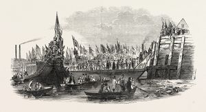 LORD MAYOR'S SHOW, THE LANDING AT WESTMINSTER, LONDON, UK, 1846
