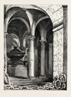 LORD NAPIER'S GRAVE IN THE CRYPT OF ST. PAUL'S, LONDON, engraving 1890, UK, U