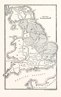 MAP OF ENGLAND SHOWING THE ANGLO-SAXON KINGDOMS AND DANISH DISTRICTS