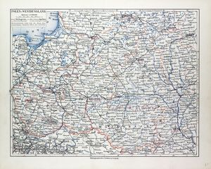 MAP OF POLAND, BELARUS AND UKRAINE, 1899