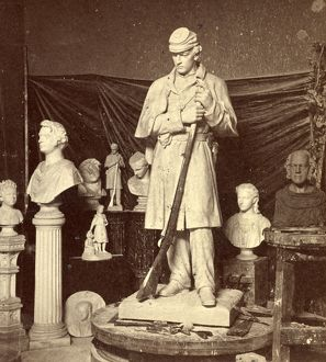 Maquette of Union soldier for Roxbury Soldiers' Monument and other sculptures