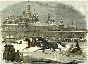 Moscow, Sledging, 1850, Russia, horse