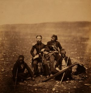 Mr. Thompson of the Commissariat & attendants of Ismail Pacha, Crimean War, 1853-1856