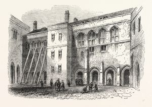 North side Priory Cloisters, London, England, engraving 19th century, Britain, UK