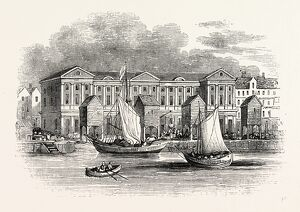 Old Custom House. Destroyed by fire 1814, London, England, engraving 19th century