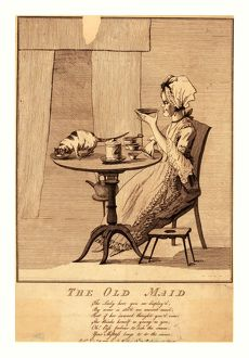 The old maid, en sanguine engraving