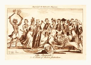 The parricide A sketch of modern patriotism, en sanguine engraving, a woman wearing