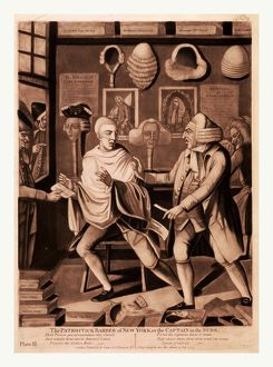 The patriotick barber of New York, or the Captain in the suds, en sanguine engraving