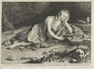 Penitent Mary Magdalene in a cave, Lucas Vorsterman (I), 1619 - 1675