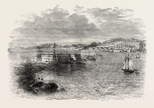 PORT PENSACOLA, UNITED STATES OF AMERICA, US, USA, 1870s engraving