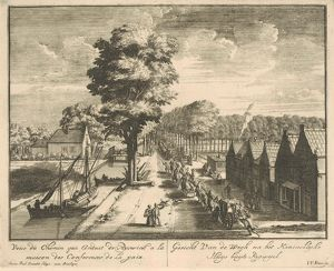A procession of horsemen and carriages on the road to the Huis ter Nieuwburg Rijswijk