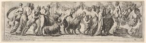 Procession of satyrs and draped figures leading two goats and cow to sacrifice, at