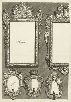 Two Rectangular Mirrors and Three Sconces, Daniel Marot I, print maker: Anonymous